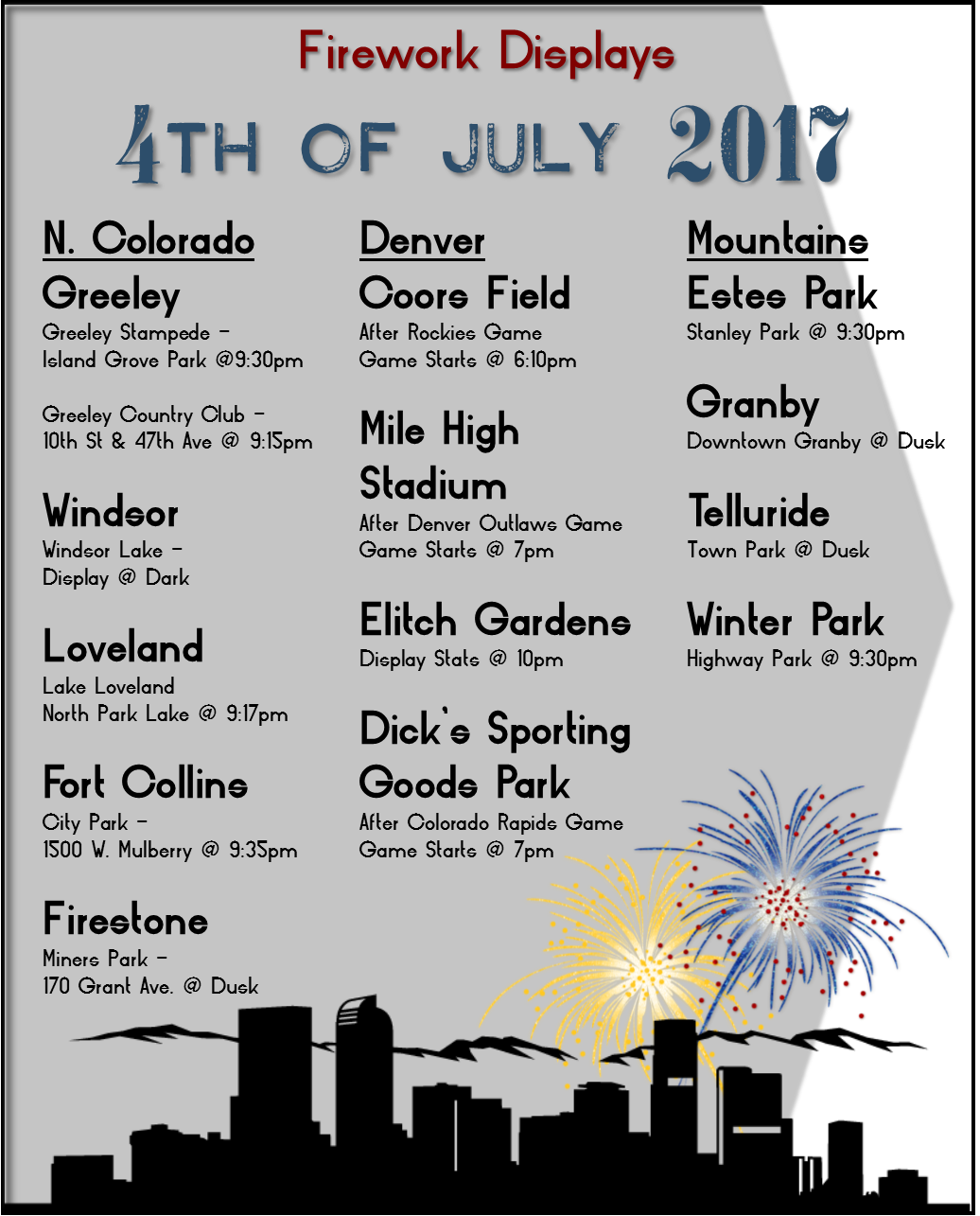 Firework Displays for 4th of July in Northern Colorado