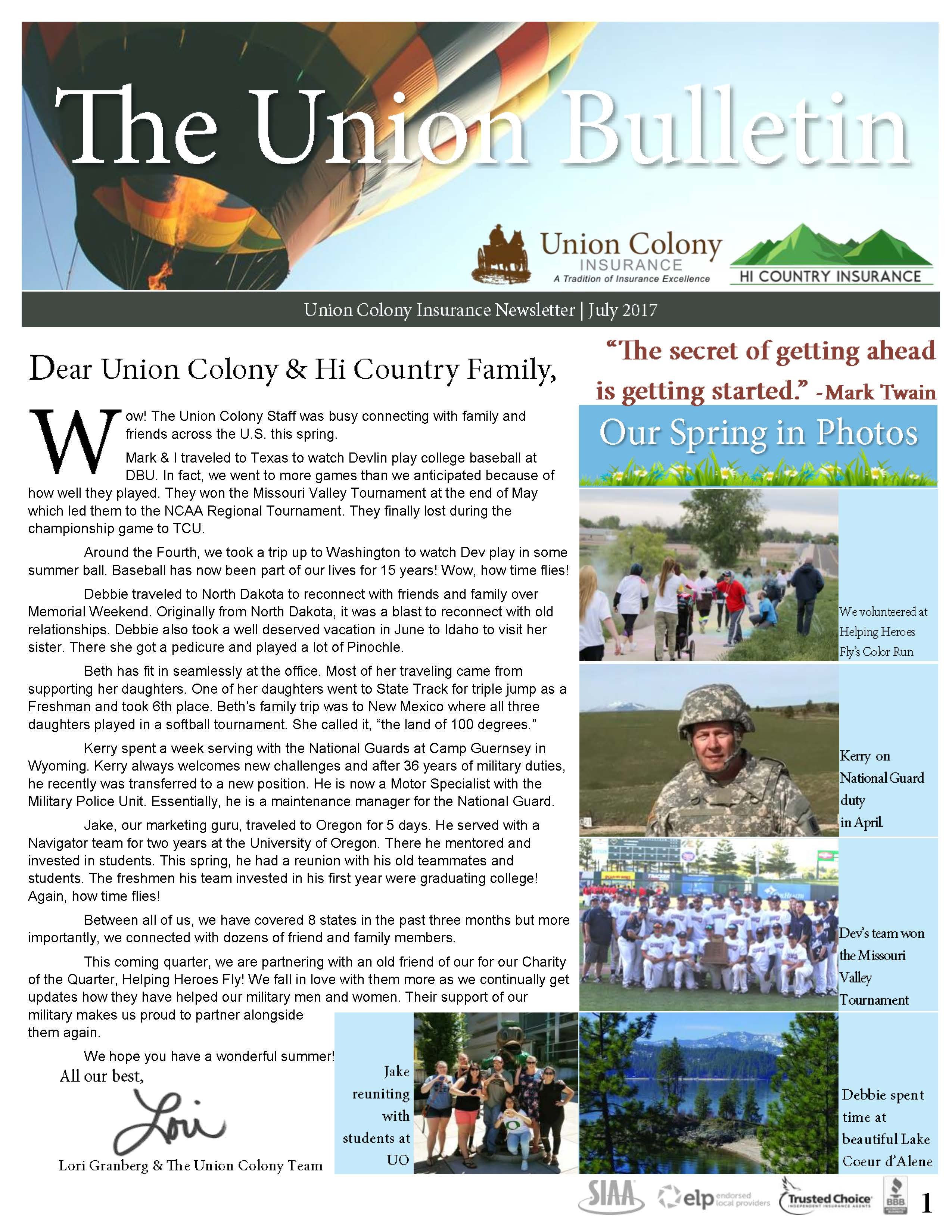 The Union Bulletin - July 2017 Page 1