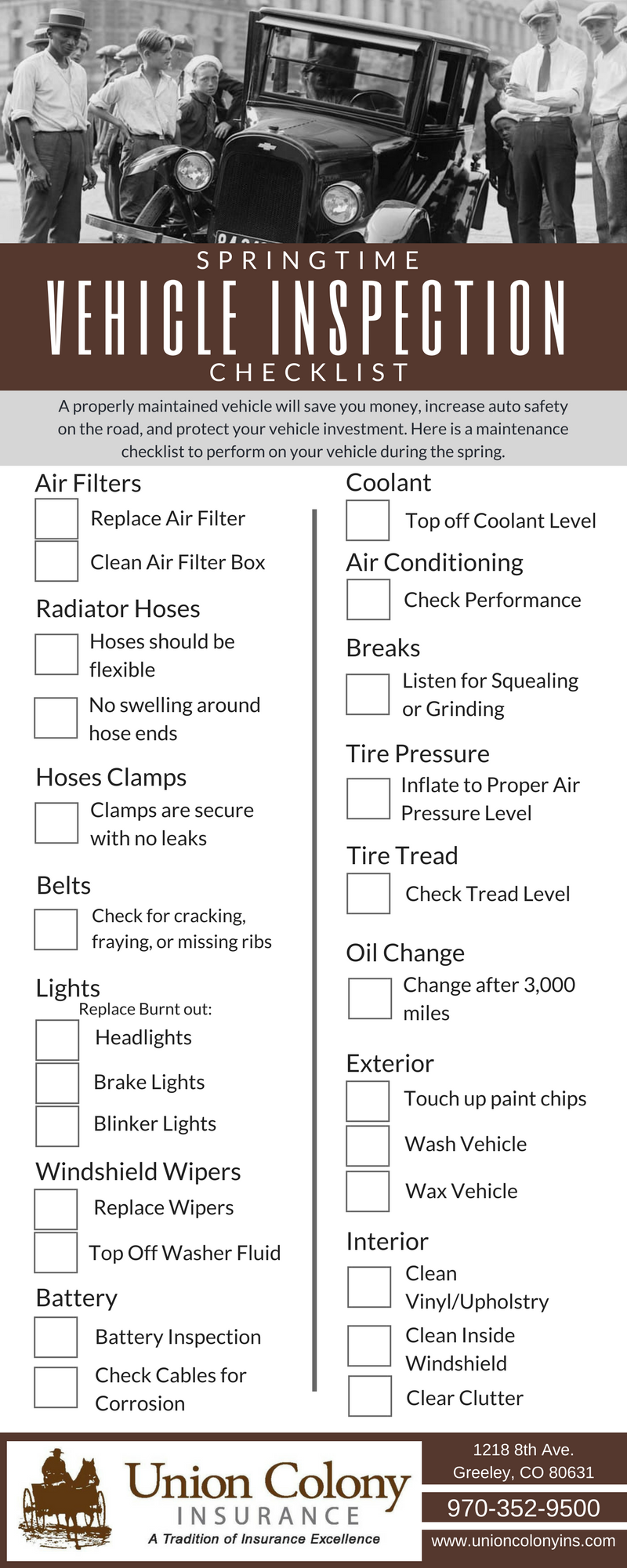 Vehicle Inspection Checklist >> Springtime Vehicle Inspection Checklist